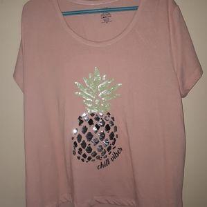 Plus Size Sequin Pineapple Pink Short Slee…